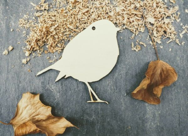 Laser 4mm Plywood Christmas Robin Shapes, pack of 10